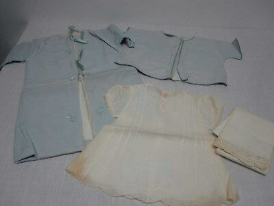 5 Pcs Vtg Baby Blue Silk Robe Bed Jacket & Philippine Cotton Dress & Pillowcase