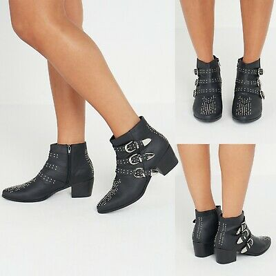 New Womens Ankle Boots Shoes Studded Mid heel Ladies Boots Shoes Size 3-8