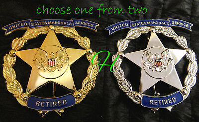 h-/ Historisch police badge + Marshal Service retired / choose gold or silver