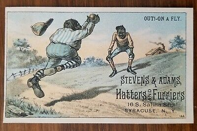 """Baseball 1880's Trade Card Black (Afro-Am) """"Humor"""" Out On a Fly STEVENS ADAMS"""