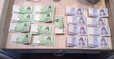 South Korea 10000 WON 2007 Lot Of Bank Notes (9) 10000 Note (8) 1000 Notes 98000