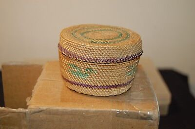 vintage pacific coastal Makah Native American  covered basket no reserve wow!