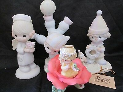 4 Enesco Precous Moments Angel of Mercy/Smile Along the Way/Red Rose of Love++