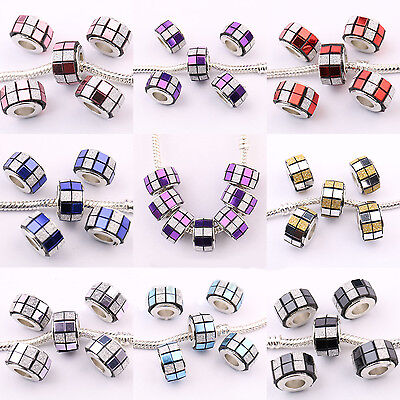 Lot 5/20Pcs Frosted Acrylic Round  Hole Bead For European Charms Bracelet 13x8mm