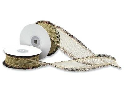 30mm Wide Gold Woven Ribbon with Tinsel Edge for Crafts - 15m