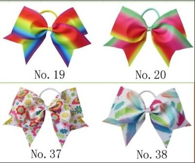 "12 BLESSING Good Girl Rainbow Unicorn 7"" Cheer Leader Hair Bow Elastic 49 No."