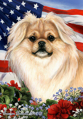 Large Indoor/Outdoor Patriotic I Flag - Cream Tibetan Spaniel 16475