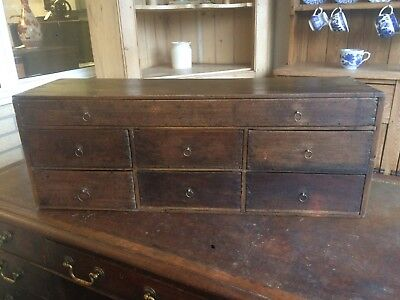 Antique 19th Century Victorian Wooden Pine Bank Of Seven Drawers