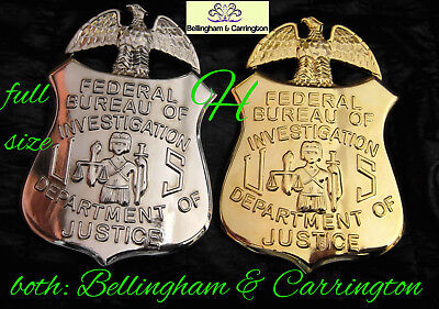 h-/ Historisches badge + FBI , Federal Of Investigation Full Size  silver o gold