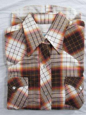 Vtg NOS Womens H Bar C Flannel Shadow Plaid Western Shirt Pearl Snap Sz 32 70s