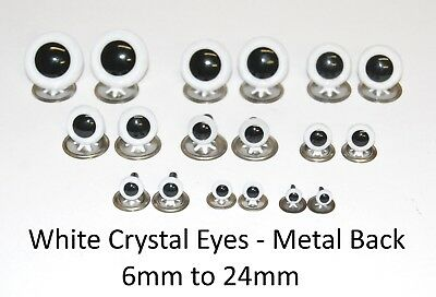WHITE Crystal Eyes with METAL BACKS - Traditional Teddy Bear Doll Animal Safety