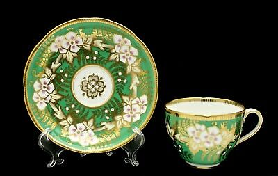 19th English Porcelain Cup & Saucer Lavishly Hand Decorated Gilt over Green