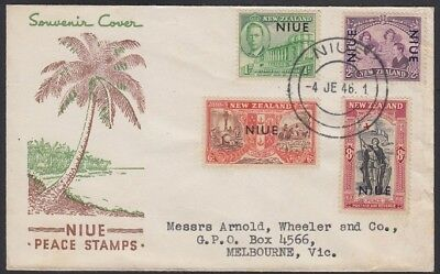 NIUE, 1946. First Day Cover 90-93, Melbourne. ontreal