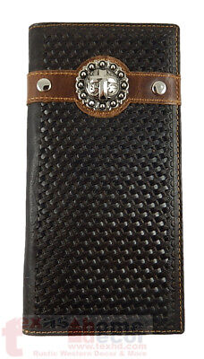 Western Bi-Fold Men's Rodeo Wallet Genuine Hand Tooled Leather Cross Concho Stud