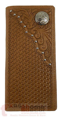 Western Bi-Fold Men's Rodeo Wallet Genuine Tooled Leather Floral Concho Studs
