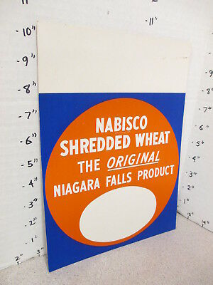NABISCO 1940s grocery store display shelf sign SHREDDED WHEAT cereal box Niagara