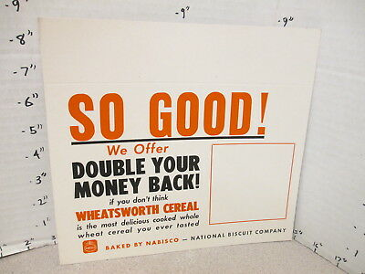 NABISCO 1940s grocery store display shelf sign WHEATSWORTH cereal box SO GOOD