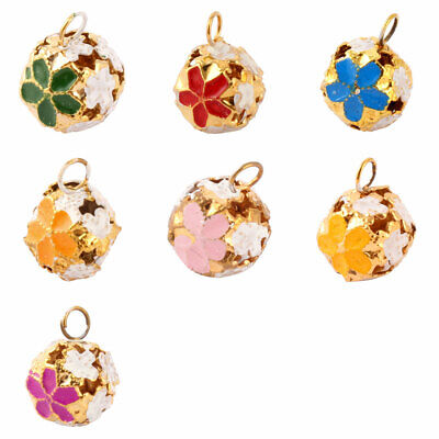 Flower Pattern Metal Hollow Out Design Christmas Tree Decor Ring Bell 10 Pcs