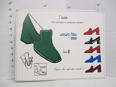 VOGUE PACER MOD SHOES 1960s store display sign women's clothing psychedelic