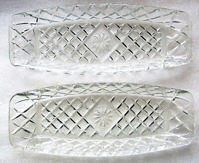 2 DIAMOND CUT CRYSTAL SANDWICH TRAY SERVERS Perfect