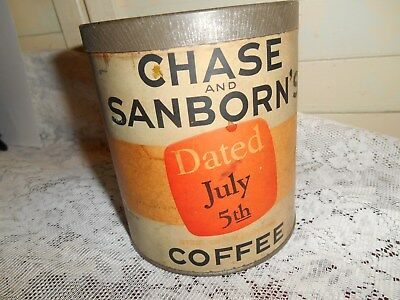 Vintage Chase & Sanborn Dated July 5th Coffee Can with Original Lid,Paper Label