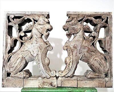 Shabby Griffin Corbel Bracket Pair Antique French Hand Carved Wood Sculpture