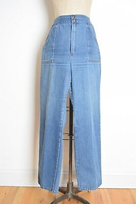 vintage 70s jeans high waisted wide leg denim hippie boho pants bell bottoms L