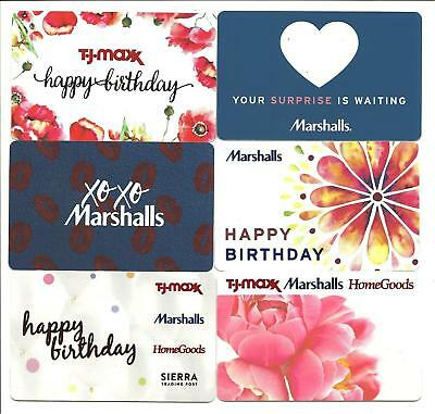 Lot of 6 TJ Maxx Marshalls HomeGoods Gift Cards No $Value Collectible Lips Heart