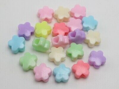 100 Mixed Pastel Color Acrylic Flower Pony Beads 10mm for Kids Kandi Craft