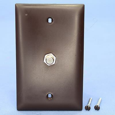 New P&S Brown Coaxial Cable CATV Wallplate Video Jack F-Type F-Connector TPCATV