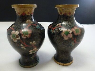 "Small Antique 3.5 "" Tall Chinese Black Cloisonne Vase SET OF 2"