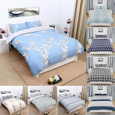 Duvet Doona Quilt Cover 100% Cotton 3 Pieces Bedding Pillowcase Set Queen/King