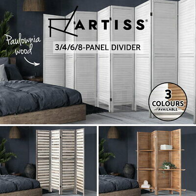 Artiss 3/4/6 Panel Room Divider Screen Privacy Foldable Timber Wood Timber Stand