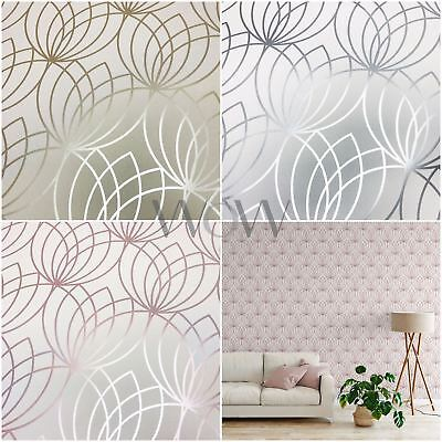 Muriva Lotus Flower Curved Geometric Metallic Wallpaper - Rose Gold Silver