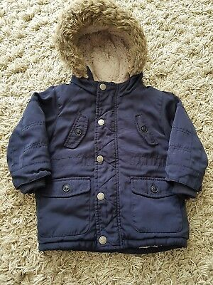 Boys Toddler Next Coat Navy Warm 12-18 Months Faux Fur Hood