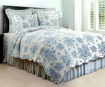 COTTAGE BLUE ROSE Full Queen QUILT SET : FRENCH COUNTRY BRIGHTON TOILE NELLY