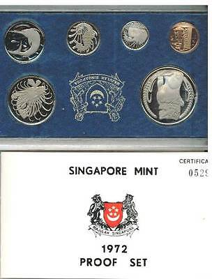 SINGAPORE 1972 PROOF SET IN ORIGINAL BOX 749 sets only minted Set number 529