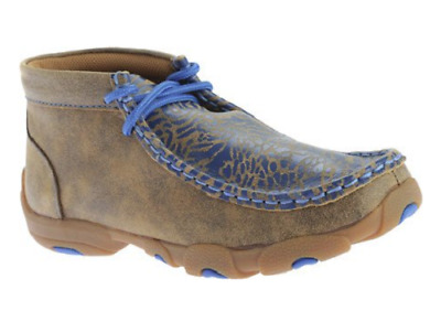 Twisted X Boots Children's YDM0009 Cowkid's Driving Moc,Bomber/Neon Blue