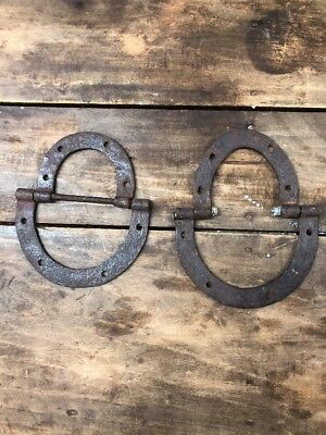 Antique Hand Forged Iron Horse Shoe Shape Hinges Rare To Find 1800's