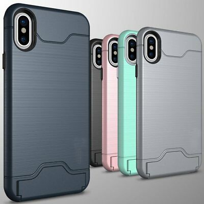 For Apple iPhone X 8 Plus/7 Plus Case with Card Holder Slot Kickstand Slim Cover