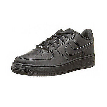 Nike Air Force 1 Junior Leather Black Mono Trainers Size UK 3 - 6