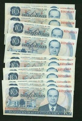Costa Rica  1985 10 Colones  Banknotes, Group Lot Of 25