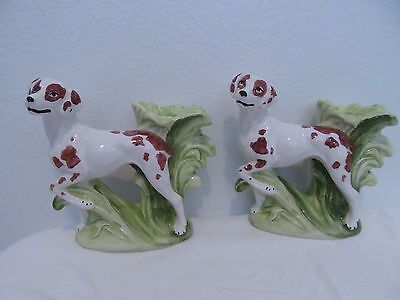 Vtg Majolica Ceramic Pottery Candlestick Candle Holder Hunting Dogs Figurine