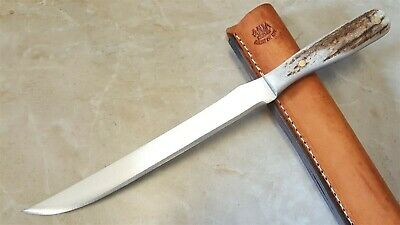 "Anza 8"" Carbon steel Blade Fillet Knife Full Tang Elk Stag Handle Leather Sheath"