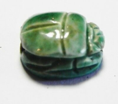 Zurqieh -As3755- Ancient Egypt , New Kingdom Glazed Stone Scarab. 1400 B.c