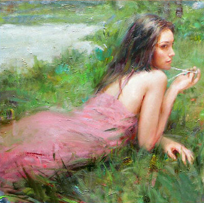 LMOP553 long dress girl Lying on the grass hand painted art oil painting canvas