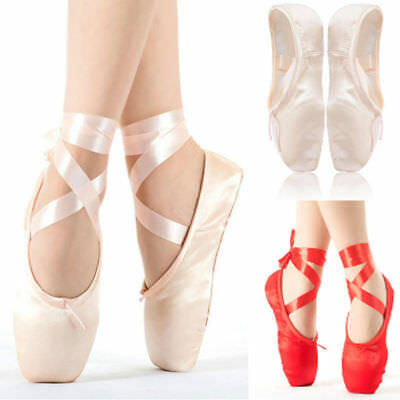 9407d305c GIRLS WOMEN PROFESSIONAL ballet dance shoes with ribbons Ballet with ...