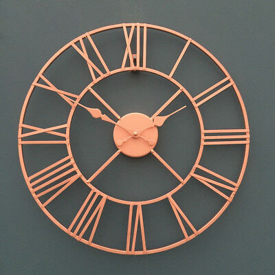 40cm Rose Gold Face Metal Skeleton Wall Clock Roman Numerals Big Large