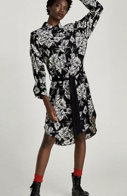 AW17 Style-sold Out!bnwt Zara Floral Shirt Dress With Bow.size Small.