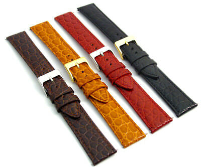 Croc Grain Leather Watch Band Men's Size 16mm - 20mm Choose Your Colour D033